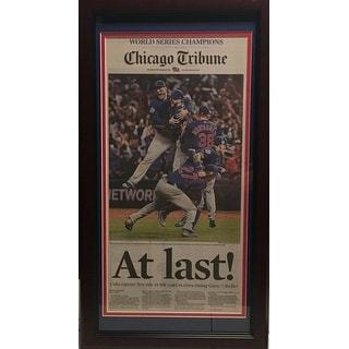 Chicago Cubs 2016 World Series Baseball Champions AT LAST Tribune Framed Newspaper Photo