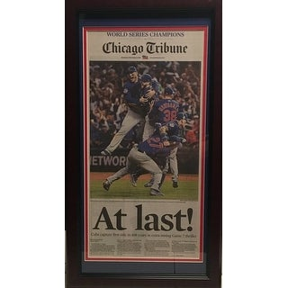 Chicago Cubs 2016 World Series Baseball Champions AT LAST Tribune Framed Newspaper
