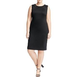 Calvin Klein Womens Plus Scuba Dress Rhinestone Sheath - 16W