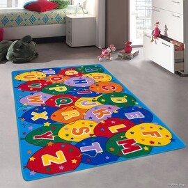 """Allstar Kids / Baby Room Area Rug. Learn ABC / Alphabet Letters Baloons. Bright Colorful Vibrant Colors (4' 11"""" x 6' 11"""")"""