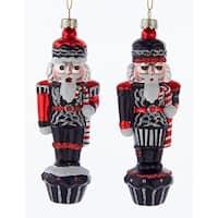 Kurt Adler Chalkboard Black Red Nutcrackers  Holiday Ornaments Set of 2 Glass