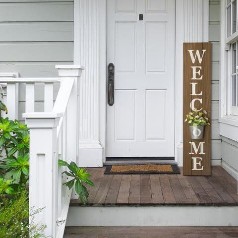 "Glitzhome 42""H Wooden WELCOME Porch Sign with Metal Planter"