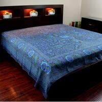 Cotton Tree of Life Tapestry Tablecloth Bedspread Beach Sheet Dorm Decor Indigo Blue - Twin 70x104, Full 88 x106 inches