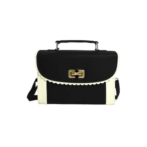 Women Contrast Color Scalloped Trim Detail Turn-Lock Clasp Casual Tote