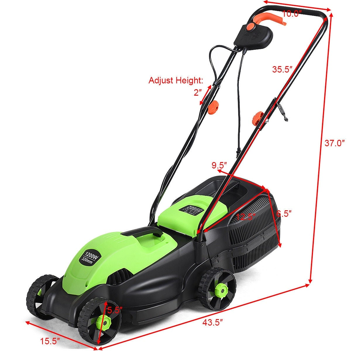 Costway 12 Amp 14 Inch Electric Push Lawn Corded Mower With Grass Bag Overstock 21248913