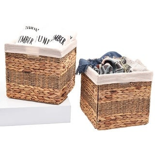 StorageWorks Hyacinth & Seagrass Basket with Linen Lining, Foldable Storage Baskets with Iron Wire Frame, Large