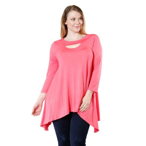 Women's Plus Size Long Sleeve Peep Front Blouse