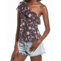ASTR Purple Womens Size Small S Floral Ruffle One Shoulder Blouse