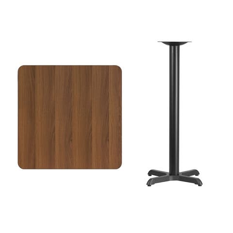 Offex 30'' Square Walnut Laminate Table Top with 22'' x 22'' Bar Height Table Base