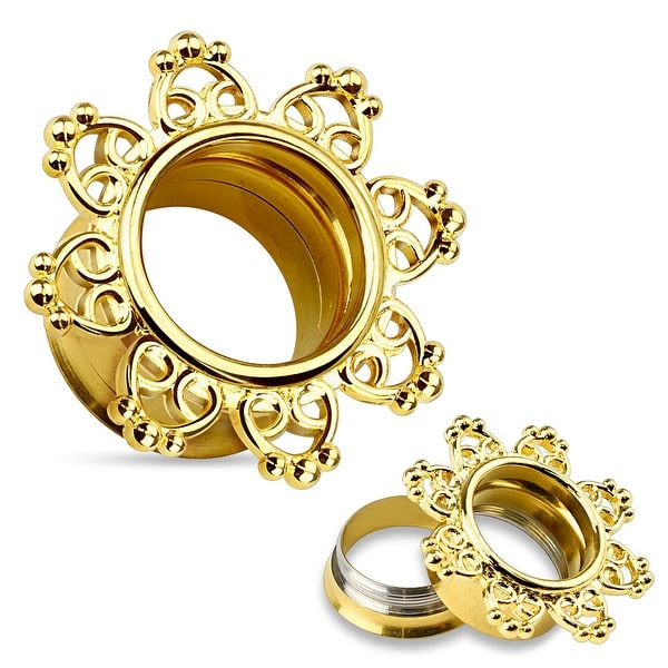 14Kt Gold IP Tribal Hearts Surgical Steel Threaded Double Flared Tunnel (Sold Individually)