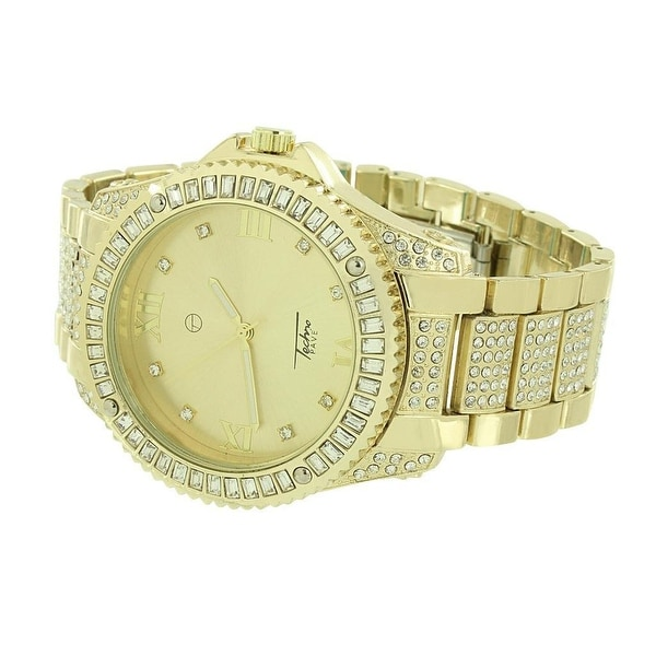 Mens Techno Pave Watch Iced Out Simulated Diamonds Gold Finish Stainless Steel Back New Stylish