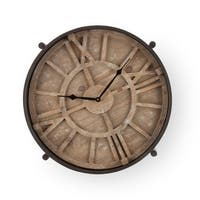 """28.25"""" Brown and Black Vintage Clock Table with Glass Top"""