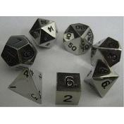 Metal Dice Polyhedral Set of 7 die (7) Silver