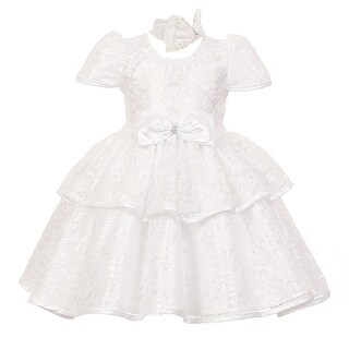 Baby Girls White Floral Embroidered Lace Overlay Bow Flower Girl Dress 6-24M (2 options available)