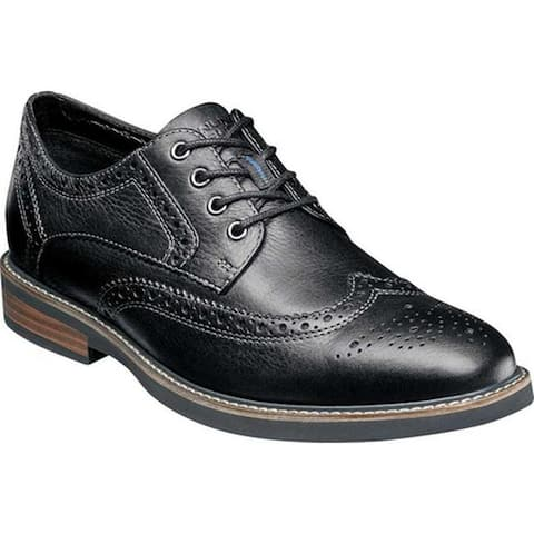 Nunn Bush Men's Oakdale Wing Tip Oxford Black Tumble Leather