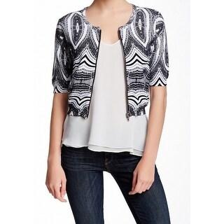 Chelsea + Theodore NEW Black White Women's Medium M Cardigan Sweater