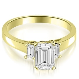 1.15 cttw. 14K Yellow Gold Emerald Cut Three Stone Diamond Engagement Ring
