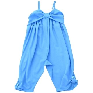 Lele Little Girls Blue Flat Bow Button Detail Spaghetti Strap Jumper