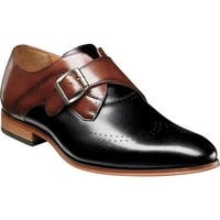Stacy Adams Men's Saxton Wingtip Monk Strap 25178 Black/Cognac Smooth Leather