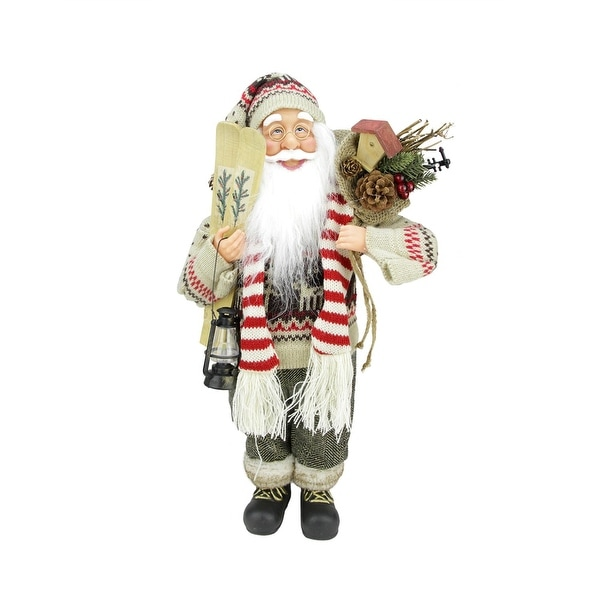 """18"""" Standing Santa Claus in Knit Sweater Christmas Figure with Skis and Lantern"""