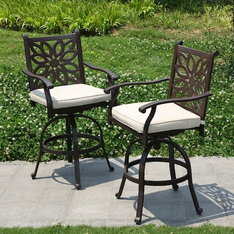 PHI VILLA Outdoor Patio Swivel Bar Stools Cast Aluminum Arms Chairs Set of 2 with Seat Cushion