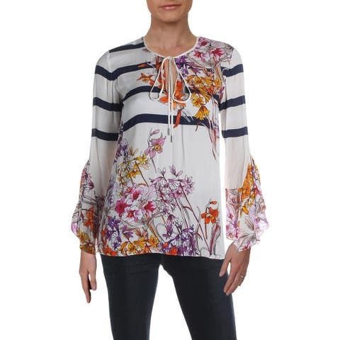 Elie Tahari Womens Ulrika Blouse Floral Print Bell Sleeves - Mango Multi - XS