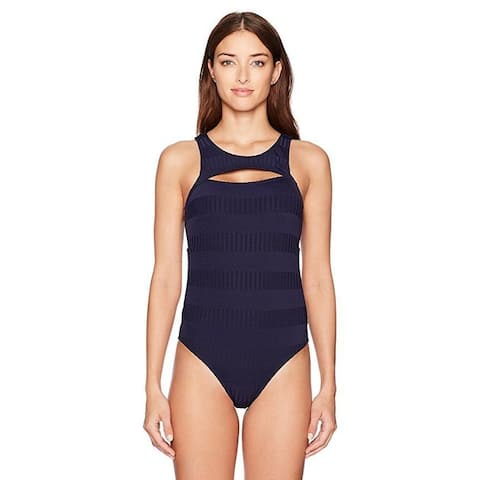 Nautica Women's Ocean Isle Removable Soft Cup High Neck One Piece SZ: M