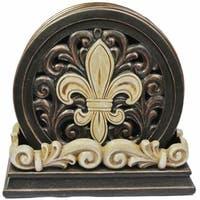 International Wholesale Gifts  Fleur De Lis Carved Scroll Coaster Set
