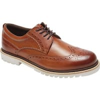 Rockport Men's Marshall Wing Tip Oxford Cognac Leather