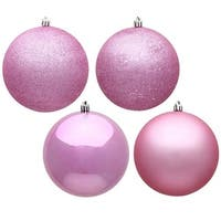 4.75 in. Pink 4 Finish Assorted Color Christmas Ornament Ball - 4