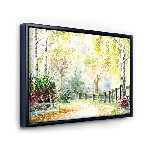 Designart 'Autumn Countryside Landscape In The Afternoon' Traditional Framed Canvas Wall Art Print