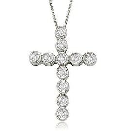 0.75 cttw. 14K White Gold Bezel Diamond Cross Pendant