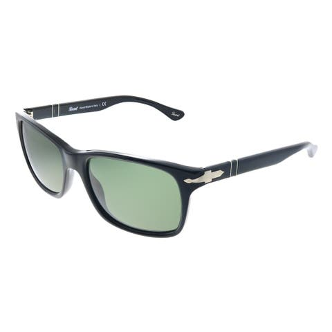 Persol PO 3048S 95/31 58mm Unisex Black Frame Crytal Green Lens Sunglasses