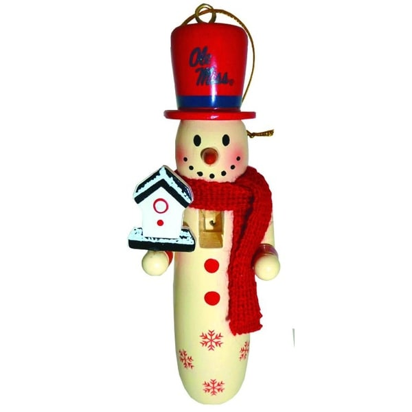 "6 NCAA University of Mississippi Rebels Wooden Snowman Christmas Ornaments 6"" - RED"