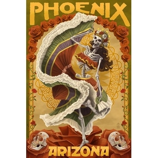 Phoenix, Arizona - Day of the Dead Dancing Skeleton - Lantern Press Artwork (Poker Playing Cards Deck)