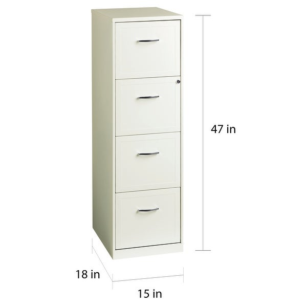 Space Solutions Pearl White 4 Drawer Metal Vertical File Cabinet
