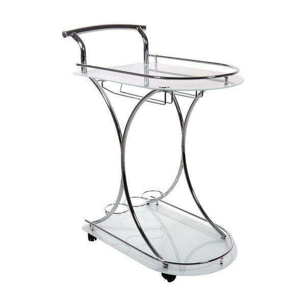 """34"""" Clear Contemporary Movable Home Bar Table Glass Server - N/A"""