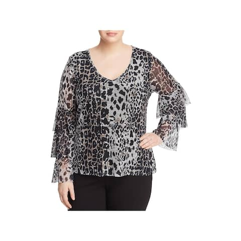 Love Scarlett Womens Plus Blouse Tiered Leopard Print - 3X