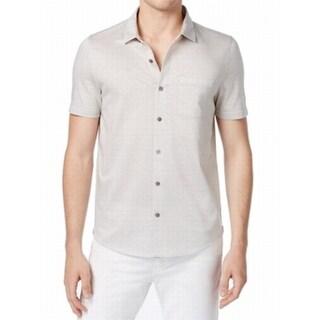 Michael Kors NEW Gray Printed Mens Size Large L Knit Button Down Shirt