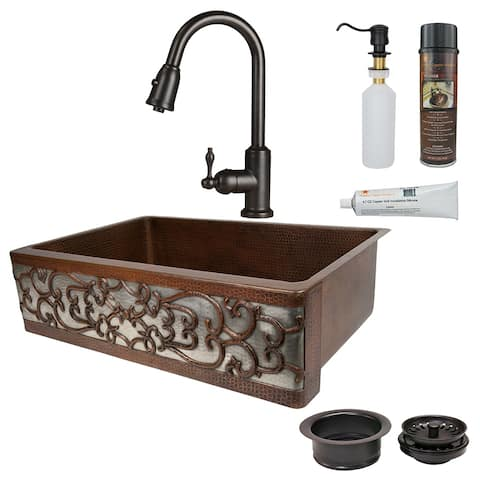 Premier Copper Products KSP2_KASDB33229S-NB Kitchen Sink, Pull Down Faucet and Accessories Package