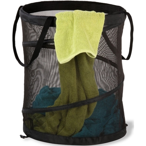 Honey-Can-Do HMP-01127 Pop-Up Mesh Spiral Hamper, Large, Black