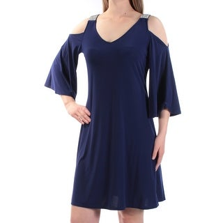 Womens Navy 3/4 Sleeve Above The Knee Shift Evening Dress Size: M
