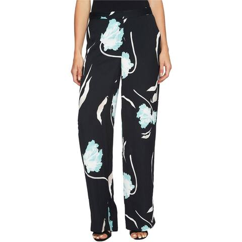 1.State Womens Printed Flat-Front Casual Wide Leg Pants