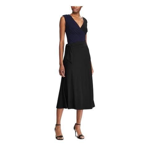 RALPH LAUREN Black Sleeveless Midi Wrap Dress Dress Size 0