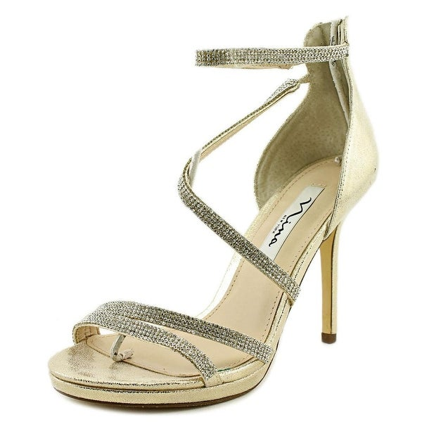 Nina Reed Women Open Toe Canvas Gold Sandals
