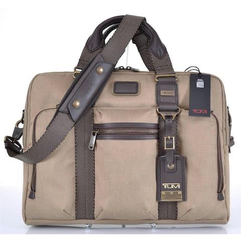 Tumi Men's Khaki 22611 Mcnair Alpha Bravo Slim Brief Crossbody Messenger Bag