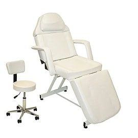 LCL Beauty White Fully Adjustable Stationary Facial Bed / Massage Table
