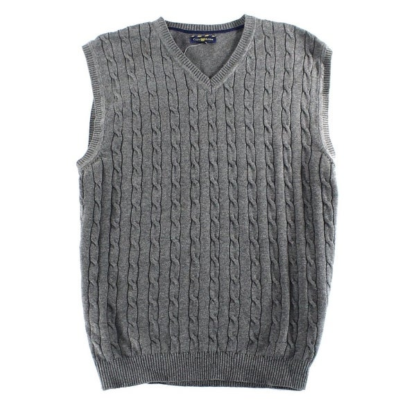 Club Room New Gray Mens Size Xl Cable Knit Pullover Vest Sweater