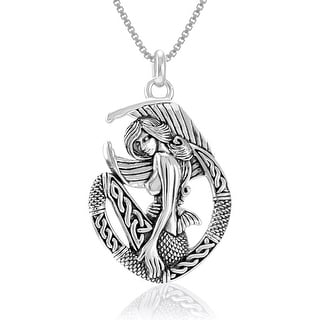 "Link to Celtic Mermaid Ocean Goddess Sterling Silver Pendant Necklace 18"" Similar Items in Necklaces"