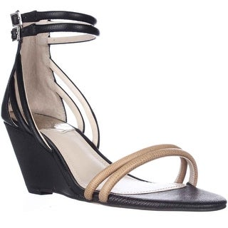 Vince Camuto Wynter Wedge Ankle Strap Sandals, Black/Outback - 5.5 us / 35.5 eu